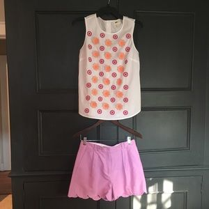 2pieces:J Crew blouse blouse(Sm)shorts(2)